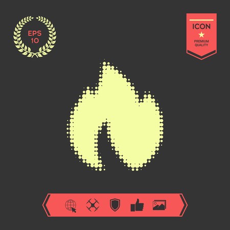 Fire, flame - halftone logo. . Graphic elements for your design Stock Illustratie