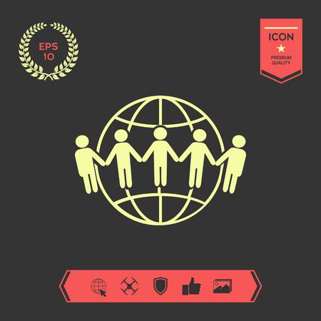 Icona della terra. Comunicazione in tutto il mondo concetto. Comunità globale Vettoriali