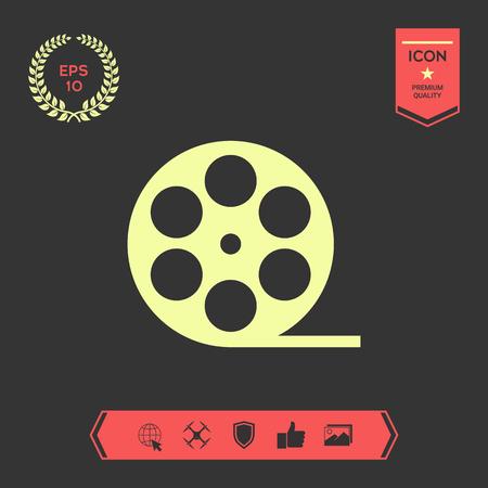 Reel film symbol icon . Graphic elements for your design Vectores