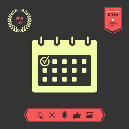 Calendar with Check mark-  icon . Graphic elements for your design Stock Illustratie