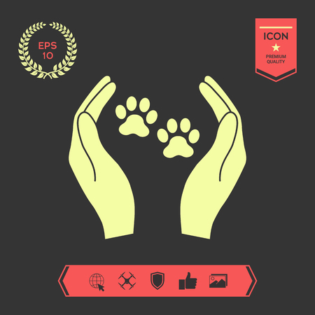 Shelter Haustiere Zeichen Symbol. Hände hält Pfotensymbol. Tierschutz