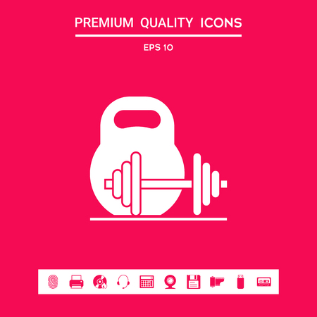 Kettlebell and barbell icon . Signs and symbols - graphic elements for your design