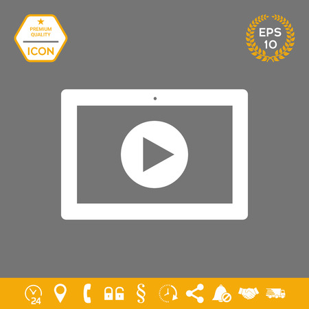 Computer tablet with play button icon. Element for your design . Signs and symbols - graphic elements for your design