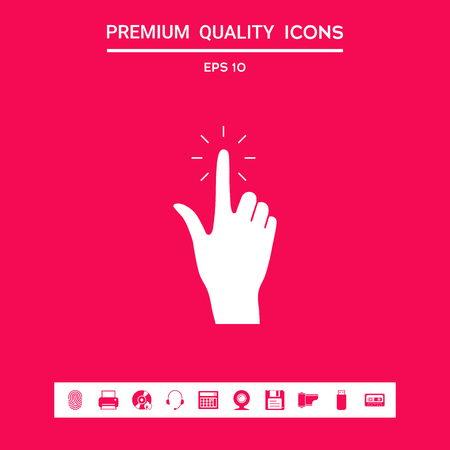 Hand click, icon . Signs and symbols - graphic elements for your design Illustration