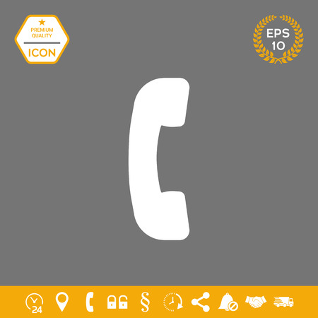 Telephone handset, telephone receiver symbol icon . Signs and symbols - graphic elements for your design Illustration