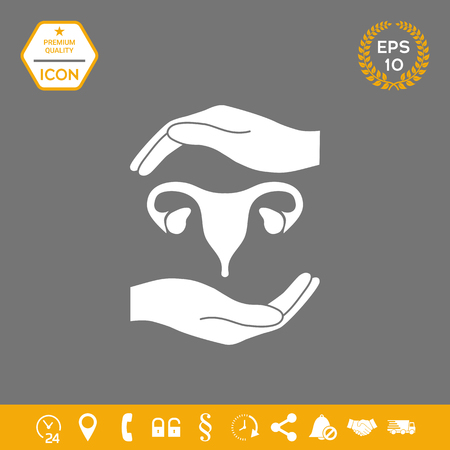 Hands holding Female uterus - protection symbol . Graphic elements for your design