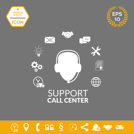 Technical support operator flat icon. . Graphic elements for your design