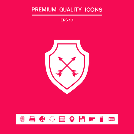 Shield with arrows. Protection icon . Signs and symbols - graphic elements for your design Stock Vector - 110516458