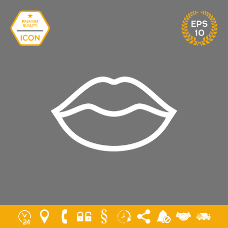 Lips linel icon . Graphic elements for your design