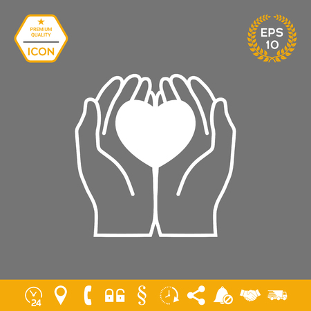 Hands holding heart - protection icon . Graphic elements for your design