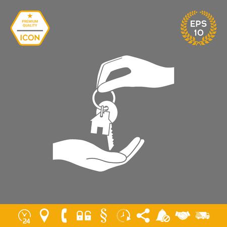 Recibiendo la llave con llavero con forma de casa - icono. . Signos y símbolos: elementos gráficos para su diseño