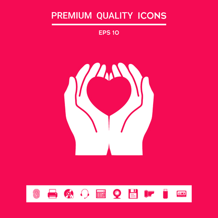 Hands holding heart - protection symbol . Graphic elements for your design Vector Illustration