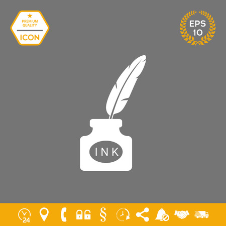 Ink bottle with feather - icon . Signs and symbols - graphic elements for your design Foto de archivo - 110516721