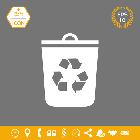 Trash can, recycle bin icon . Graphic elements for your design