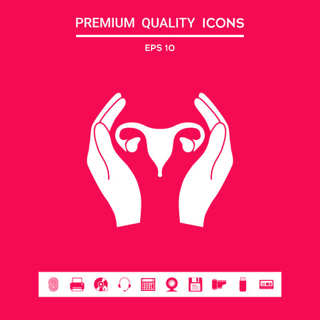Hands holding Female uterus - protection icon . Graphic elements for your design