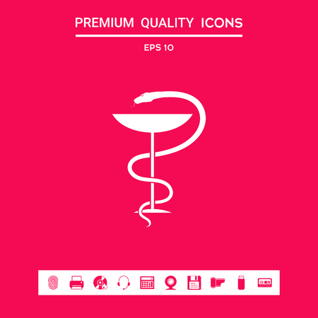 Medical symbol medical snake and cup . Signs and symbols - graphic elements for your design