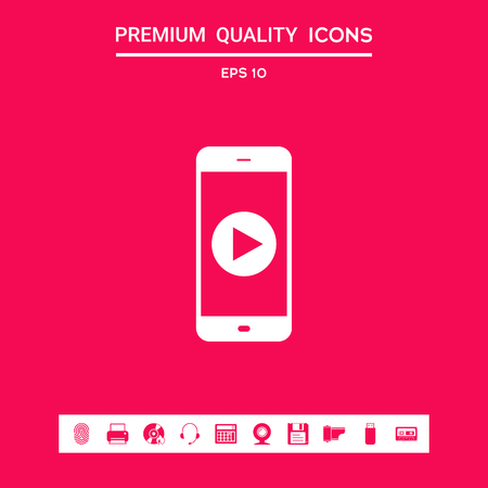 Business Phone with  play button  icon. Element for your design . Signs and symbols - graphic elements for your design Stock Photo