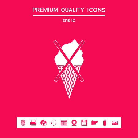 No ice cream symbol icon . Signs and symbols - graphic elements for your design Ilustração