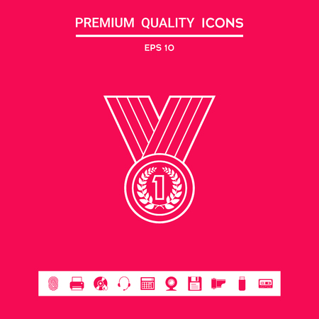 Medal with Laurel wreath. Line icon . Signs and symbols - graphic elements for your design Illustration