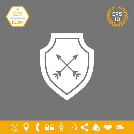 Shield with arrows. Protection icon . Signs and symbols - graphic elements for your design