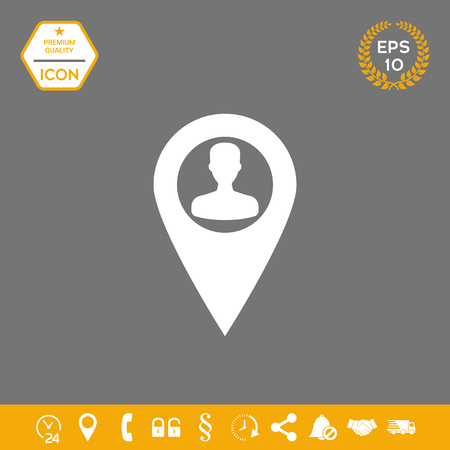 Map pointer with Man silhouette . Signs and symbols - graphic elements for your design