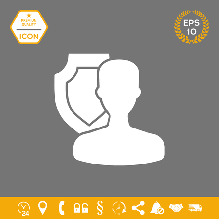 Insurance shield with user icon . Signs and symbols - graphic elements for your design Illustration