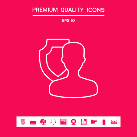 Insurance shield with user - line icon . Signs and symbols - graphic elements for your design