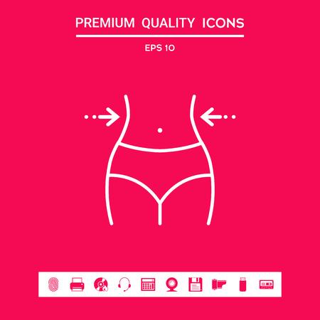 Women waist, weight loss, diet, waistline - line icon 矢量图像