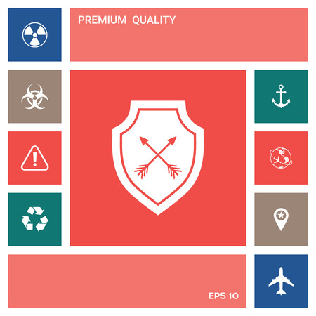 Shield with arrows. Protection icon . Elements for your design