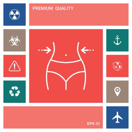 Women waist, weight loss, diet, waistline - line icon 向量圖像