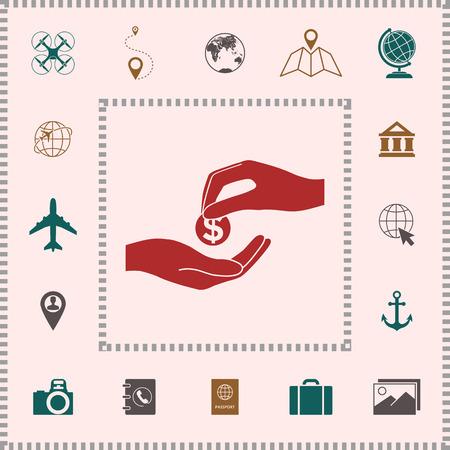 Geld erhalten Symbol. Zeichen und Symbole - grafische Elemente für Ihr Design