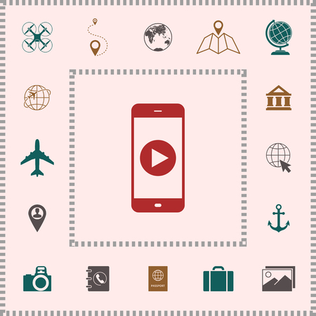 Business Phone with  play button  icon . Elements for your design Illustration