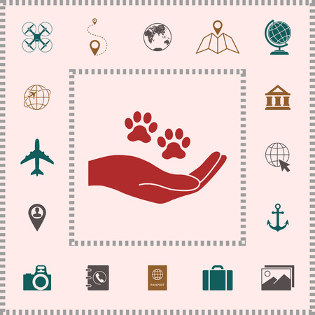 Hand holding paw symbol. Animal protection . Elements for your design
