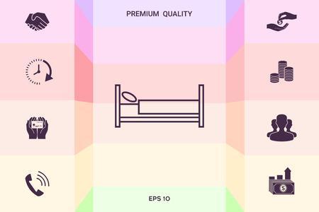 Icono de línea de cama. Elementos gráficos para el diseño