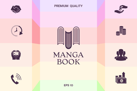 Elegant logo with manga book symbol - like the letter M