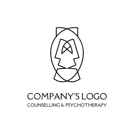 Logotipo: dos caras, dos máscaras: psicoterapia, teatro: un símbolo de interacción, diálogo, crecimiento, desarrollo, iluminación. Logos
