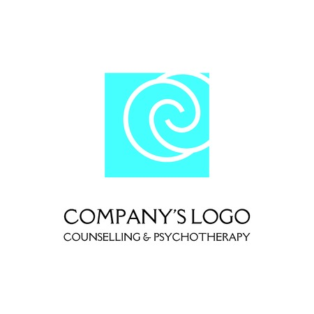 Logo - two spirals are located asymmetrically in a square - a symbol of interaction, new ideas, development.