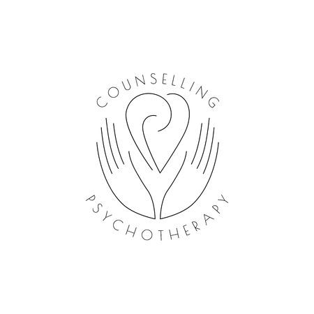 Logotipo: las manos sostienen el corazón con espirales: un símbolo de interacción, cooperación, apoyo Logos