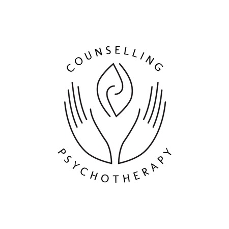 Logotype - hands support  two hemispheres of the brain, two leaves, two spirals, fire tongues - a symbol of interaction, clarity, psychological assistance and support. Illustration