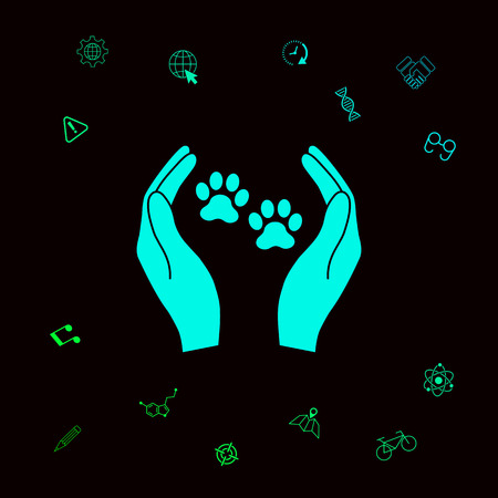 Shelter pets sign icon. Hands holds paw symbol. Animal protection . Graphic elements for your designt