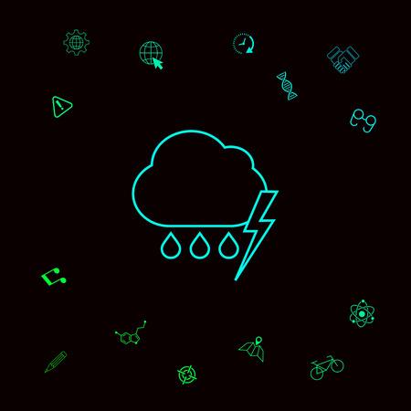 Cloud thunderstorm lightning rain line icon. Element for your design