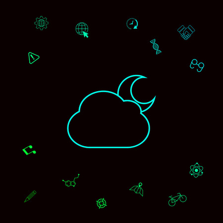 Cloud moon line icon Stock Photo