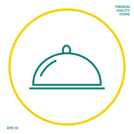 Restaurant Steel Serving Tray. Cloche line icon. Graphic elements for your design