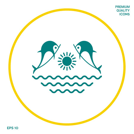 Dolphins with sun sea - Logo. Graphic elements for your design