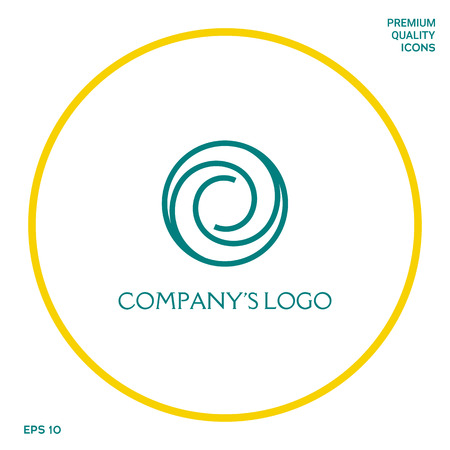 Logotype - two spirals in circle - a flower bud, camera aperture - a symbol of interaction, new ideas, development, enlightenment and wisdom.