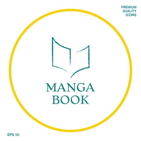 Logo élégant avec le symbole du livre comme un coup de pinceau sec