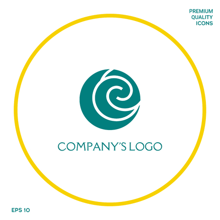 Logo - two spirals are located asymmetrically in a circle - a symbol of interaction, new ideas, development. Logo