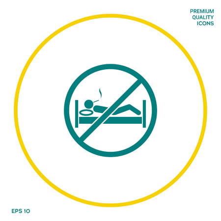 No smoking in bed - prohibition icon. Graphic elements for your design