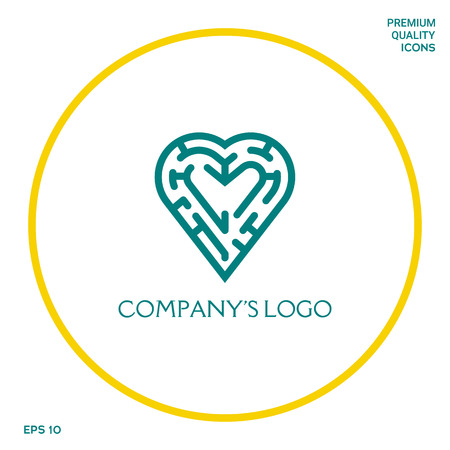 Logo - a labyrinth in the heart - a symbol of the search for integrity, wisdom and happiness. Stock Illustratie