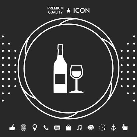 Icona di bottiglia di vino e bicchiere di vino Vettoriali